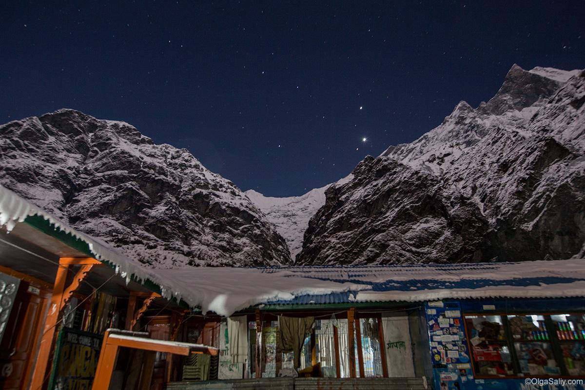 Мачепучаре базовый лагерь, ночное небо