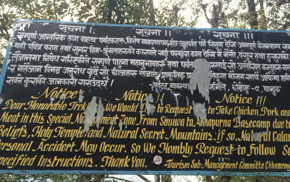 Надпись о вегетарианстве на треке в Гималаях